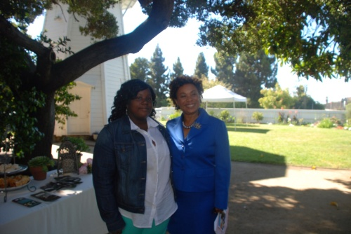 Macksmack reporter Khristan Antoine and Congresswoman Barbara Lee
