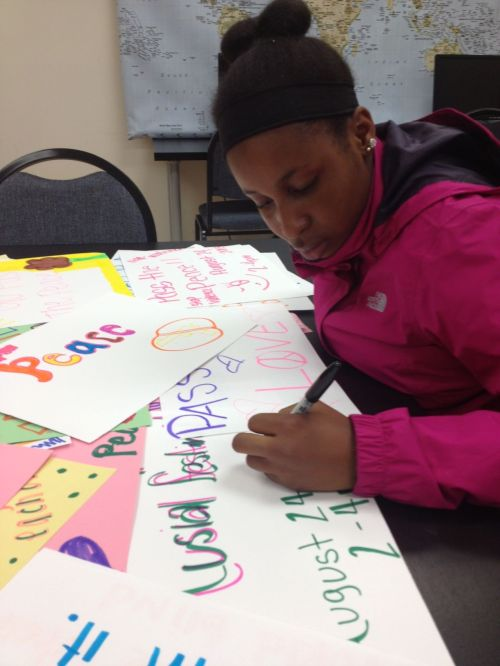 Shamarray Ross, incoming freshman at McClymonds, gathers peace pledges in preparation od Saturday's event